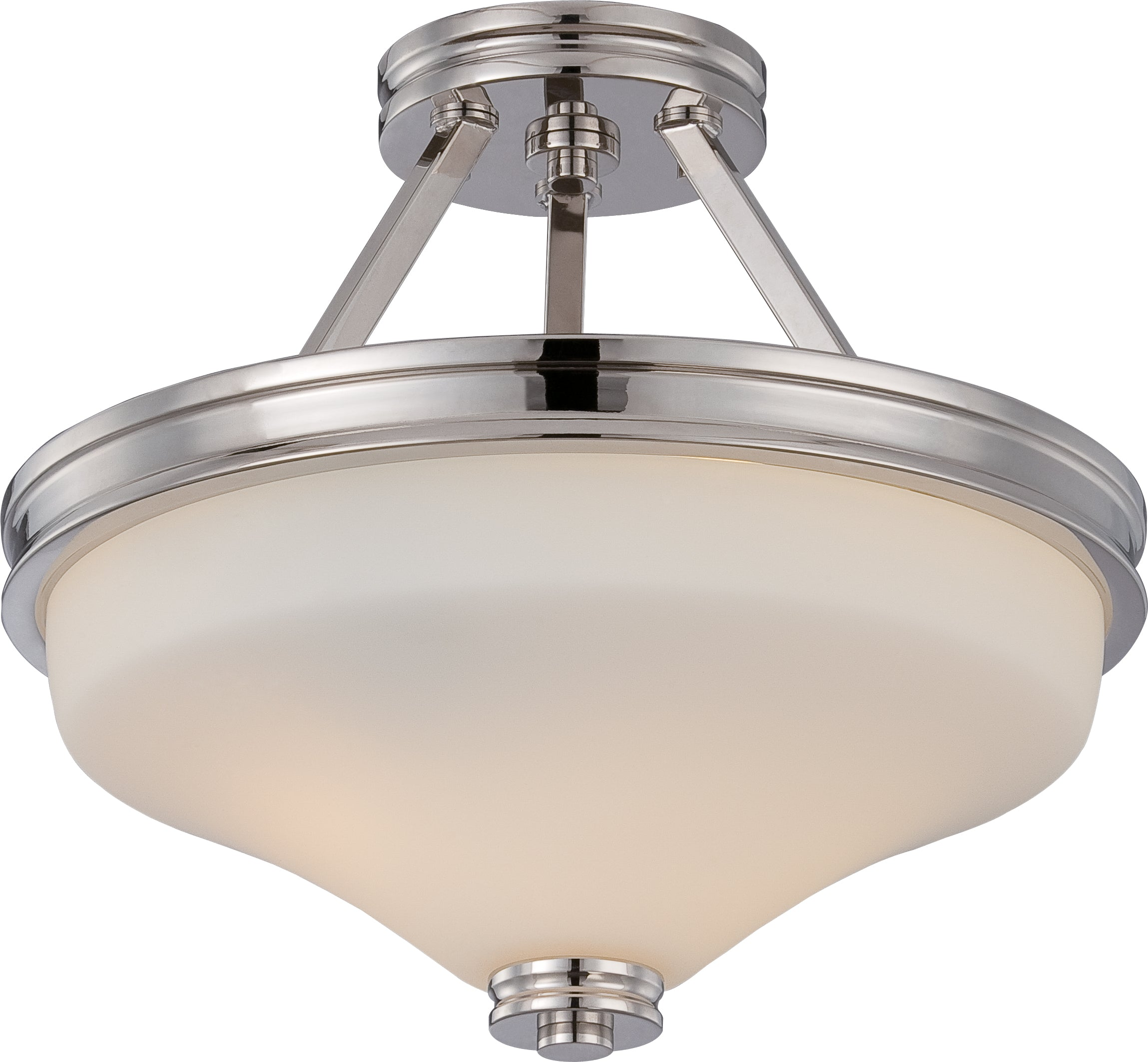 Nuvo Cody 2-Light LED Semi Flush Mounted w/ Satin White Glass in Polished Nickel