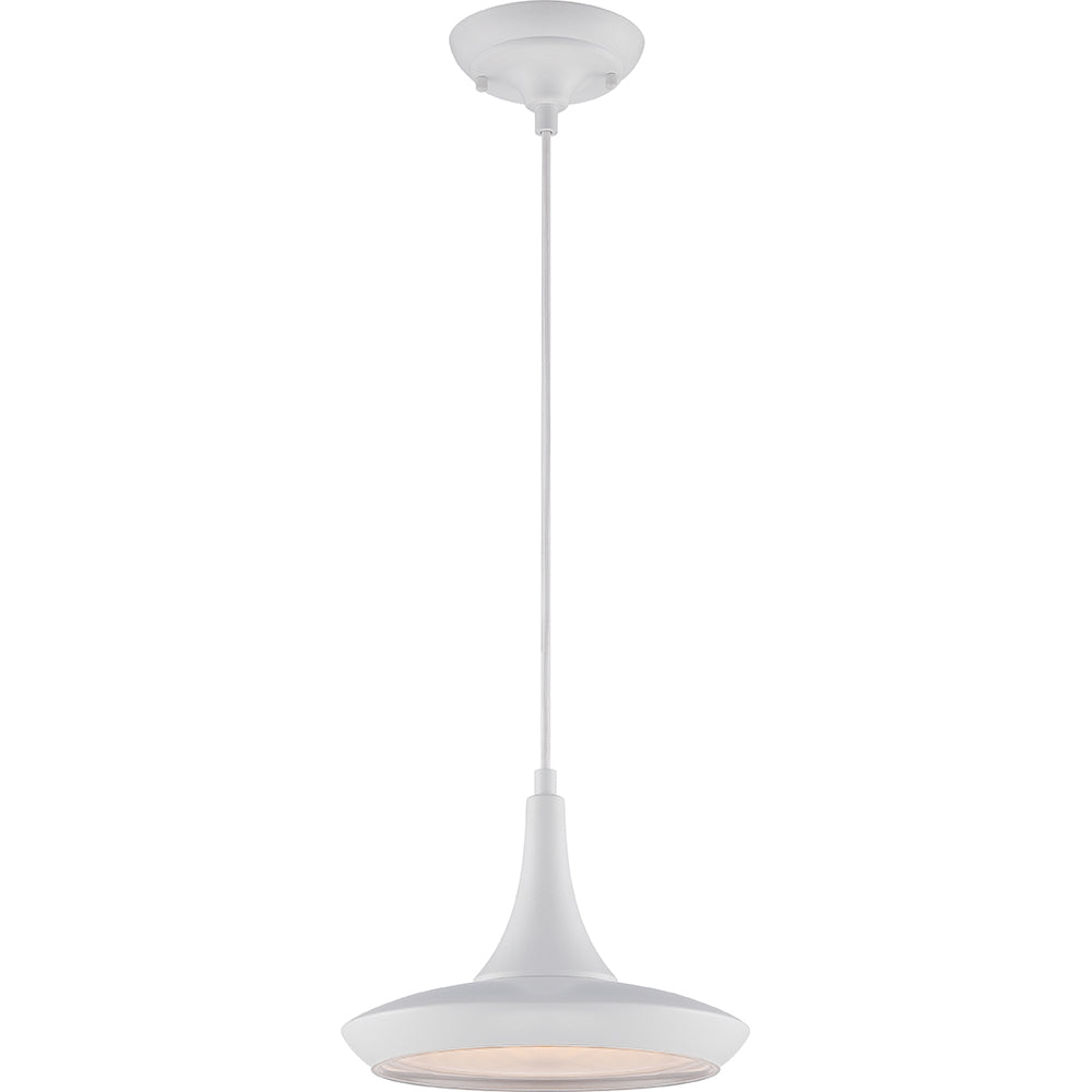 Nuvo Fantom LED Colored Pendant Light w/ Rayon Cord wire in White Finish