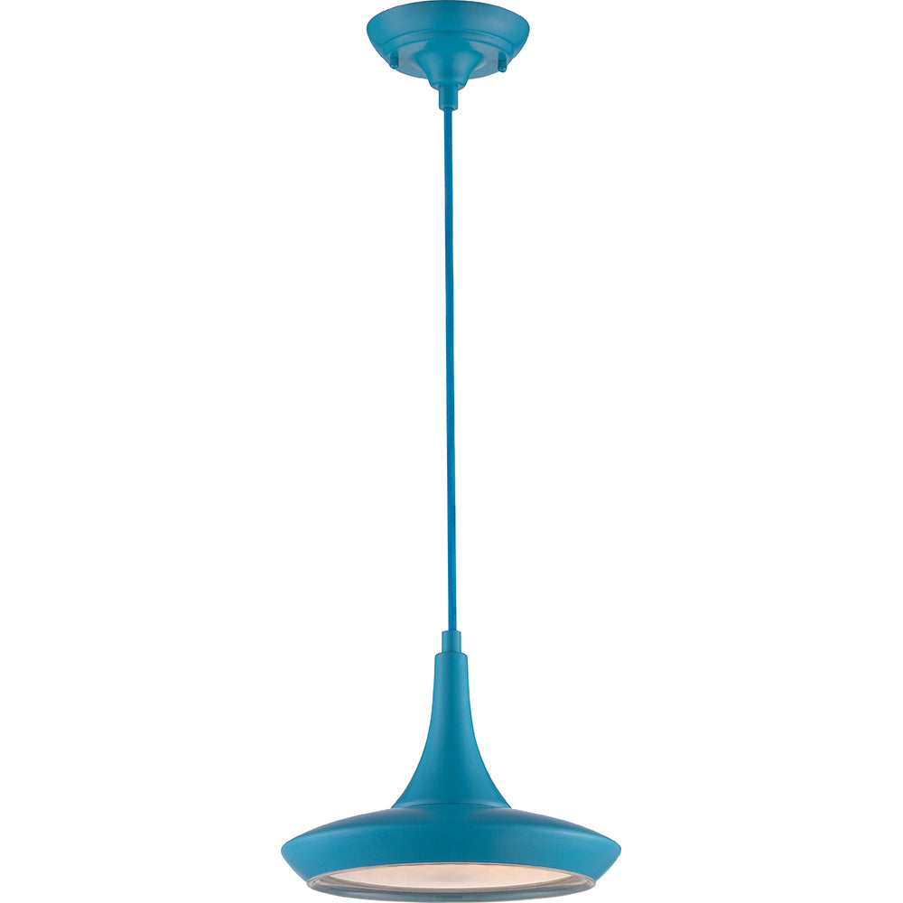 Nuvo Fantom LED Colored Pendant Light w/ Rayon Cord wire in Blue Finish
