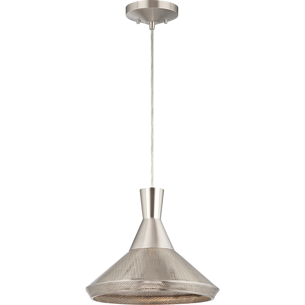 Nuvo Luger 1-Light Metal Pendant w/ 14w LED PAR Lamp Included in Satin Steel