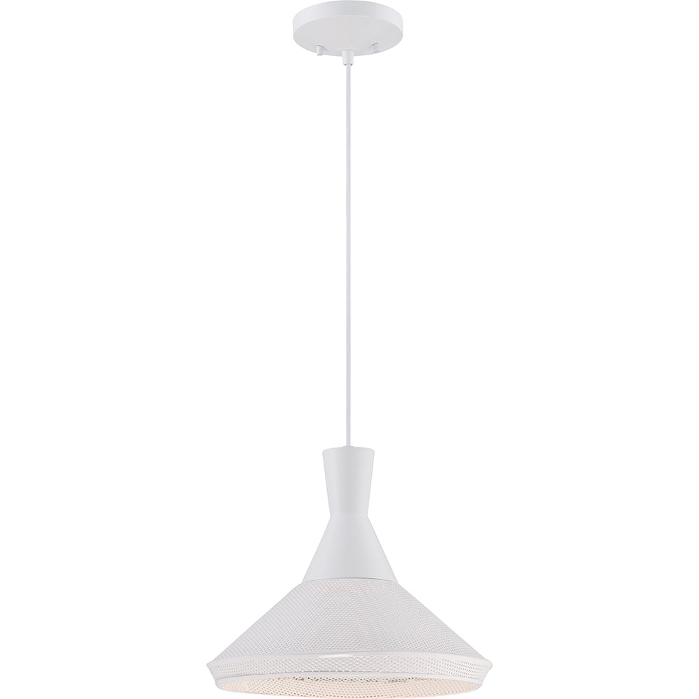 Nuvo Luger 1-Light Metal Pendant w/ 14w LED PAR Lamp Included in Glacier White