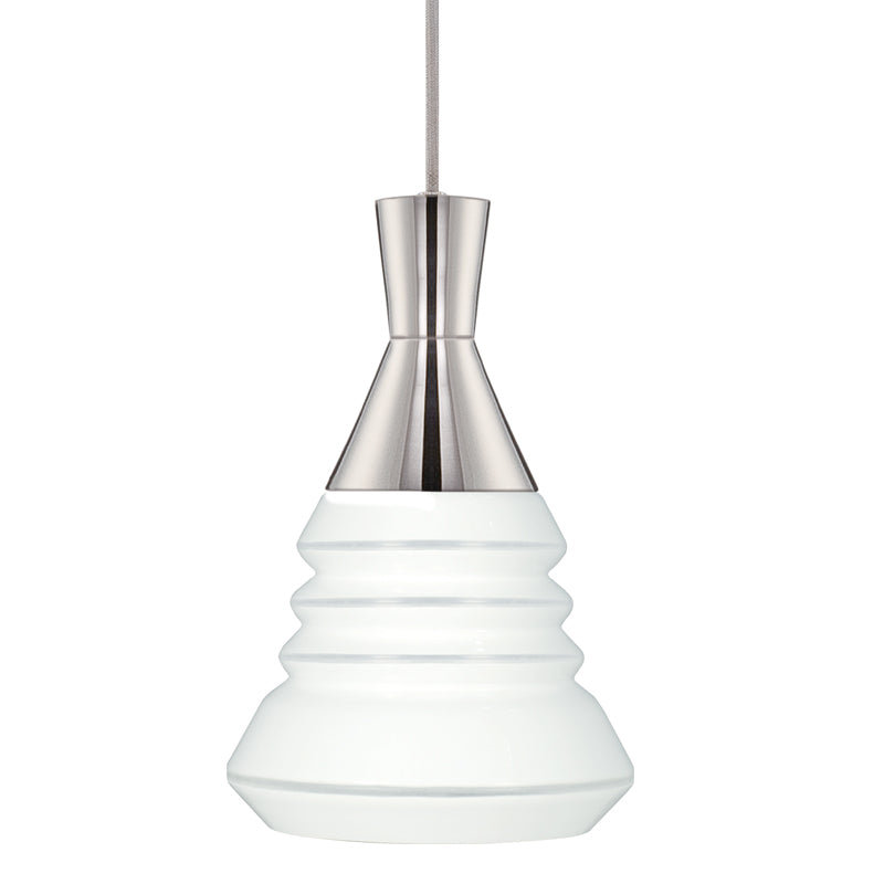 "Nuvo Vortex 14w 9"" LED Pendant w/ White Opal Glass in Polished Nickel Finish"