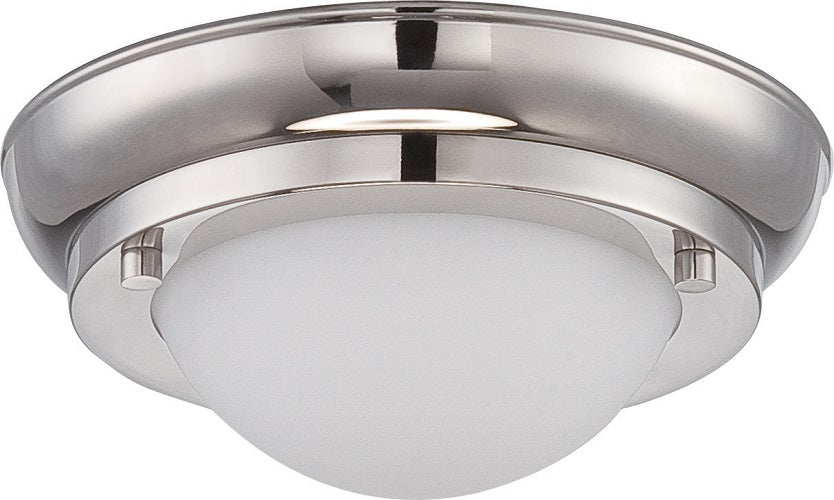 Nuvo Poke 12w Mini LED Flush Fixture w/ Satin White Glass in Polished Nickel
