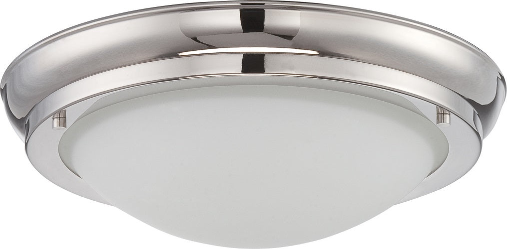 Nuvo Poke 18w Medium LED Flush Fixture w/ Satin White Glass in Polished Nickel