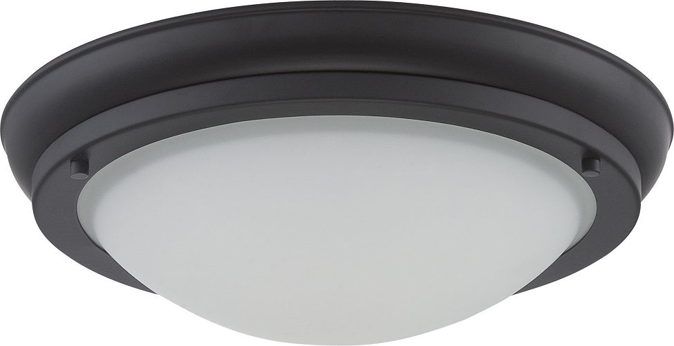 Nuvo Poke 16W Large LED 12 inch Ceiling Flush Satin White Glass Mount Fixture