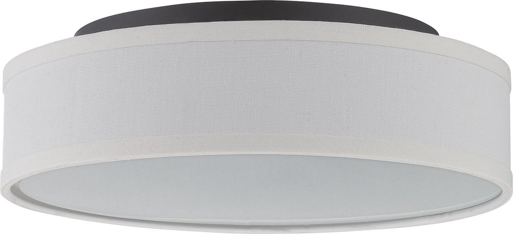"Nuvo Heather 13"" LED Ceiling Flush w/ White Linen Shade in Aged Bronze Finish"
