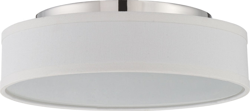 "Nuvo Heather 13"" LED Ceiling Flush w/ White Linen Shade in Polished Nickel"