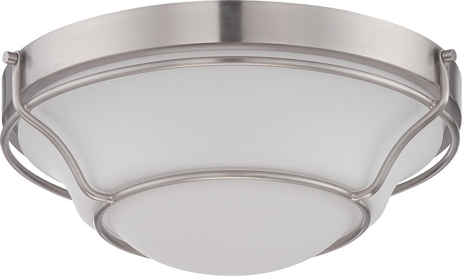 """Nuvo Baker 16w 13"""" LED Flush Fixture w/ Satin White Glass in Brushed Nickel"""