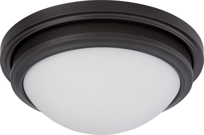 """Nuvo Corry 16w 13.25"""" LED Flush Fixture w/ Frosted Glass in Aged Bronze Finish"""