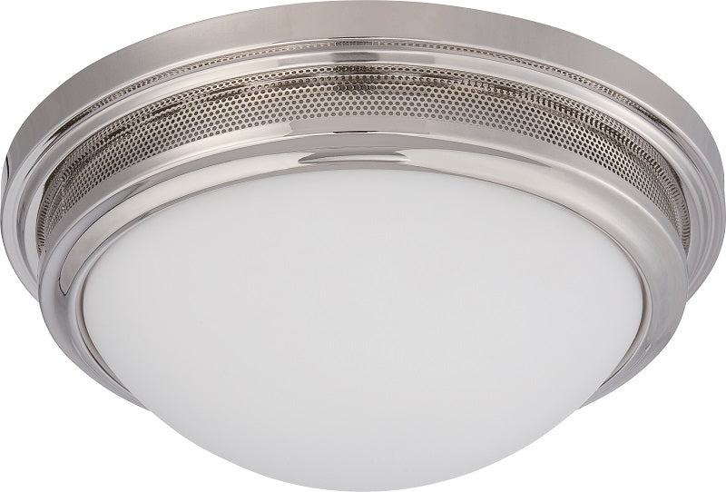 "Nuvo Corry 16w 13.25"" LED Flush Fixture w/ Frosted Glass in Polished Nickel"