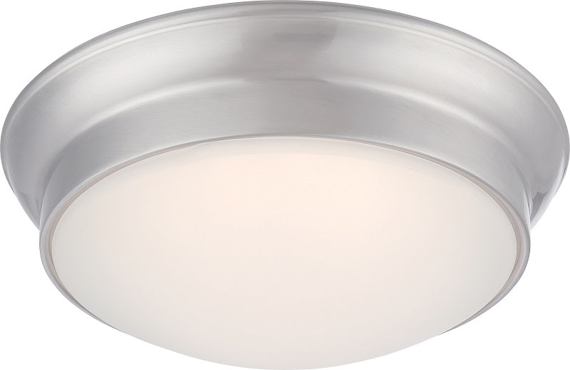 "Nuvo Conrad 18w 12"" LED Flush Fixture w/ Frosted Glass in Brushed Nickel Finish"