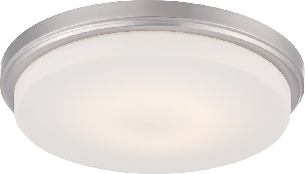 "Nuvo Dale 18w 13"" LED Flush Fixture w/ Opal Frosted Glass in Brushed Nickel"