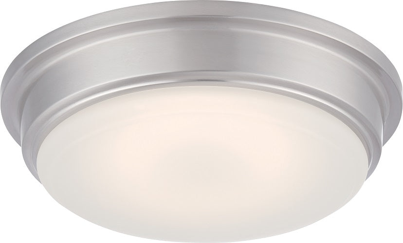 """Nuvo Haley 18w 13"""" LED Flush Fixture w/ Frosted Glass in Brushed Nickel Finish"""