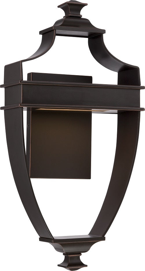 Nuvo 8.75 inch Cooper LED Outdoor Wall Light Bronze Rectangular Frosted Glass