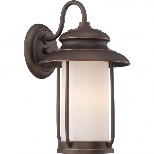 Nuvo 8.5 inch Bethany LED Outdoor Wall Bronze Light Pendant Satin White Glass