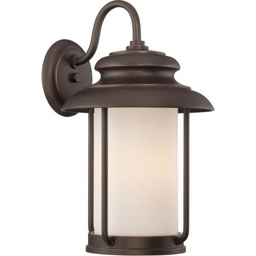 Nuvo 10 inch Bethany LED Outdoor Wall Bronze Light Pendant Satin White Glass