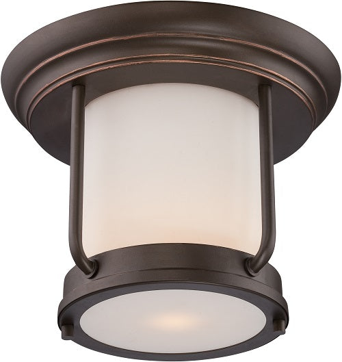 Nuvo 10 inch Bethany LED Outdoor Bronze Light with Satin White Glass