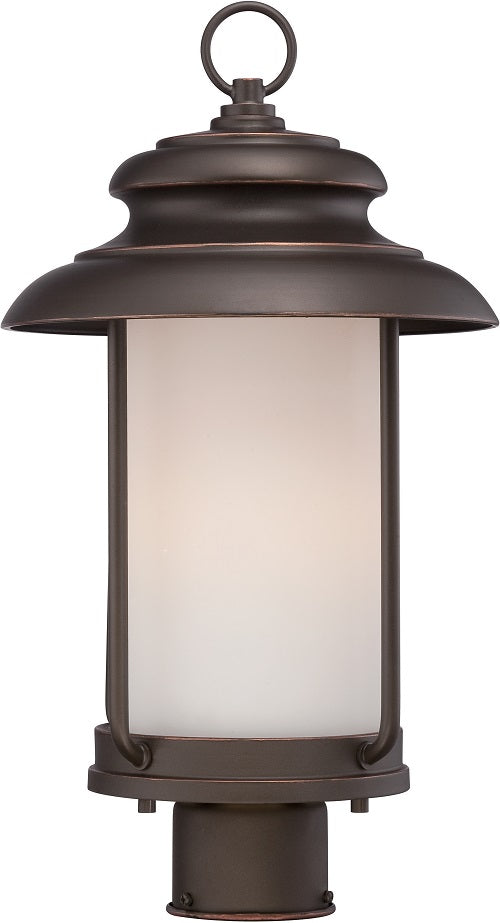 Nuvo 10 inch Bethany LED Outdoor Post Bronze Light with Satin White Glass