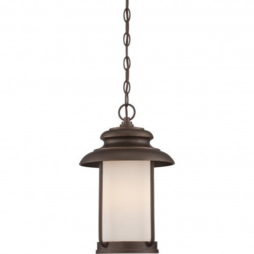 Nuvo 10 inch Bethany LED Outdoor Bronze Light Pendant Satin White Glass