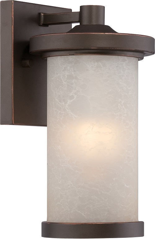 Nuvo 5.5 inch Diego LED Outdoor Wall Bronze Light with Satin Amber Glass