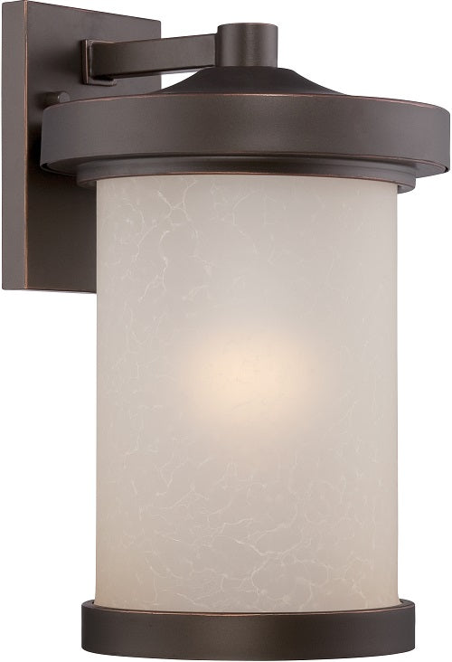 Nuvo 9 inch Diego LED Outdoor Wall Bronze Light with Satin Amber Glass