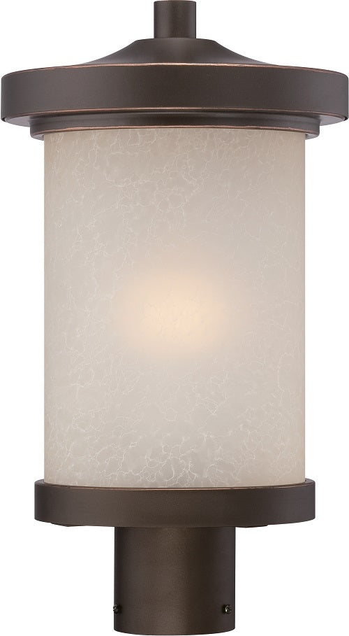 Nuvo 9 inch Diego LED Outdoor Post Bronze Light with Satin Amber Glass