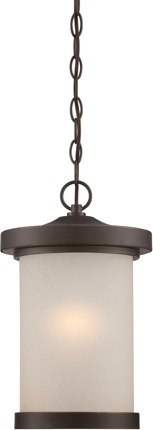 Nuvo 9 inch Diego LED Outdoor Bronze Light Pendant Satin Amber Glass