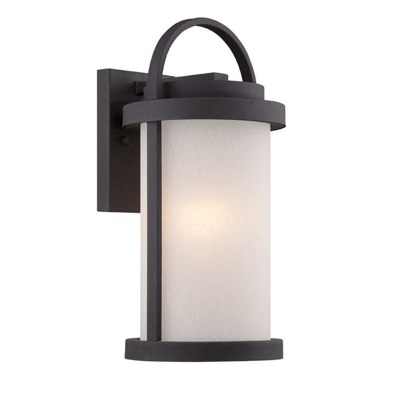 Nuvo 7.25 inch Willis LED Outdoor Wall Black Antique White Glass