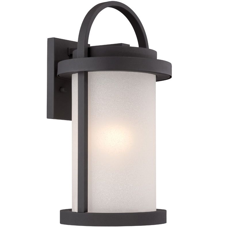 Nuvo 9 inch Willis LED Outdoor Wall Black Antique White Glass