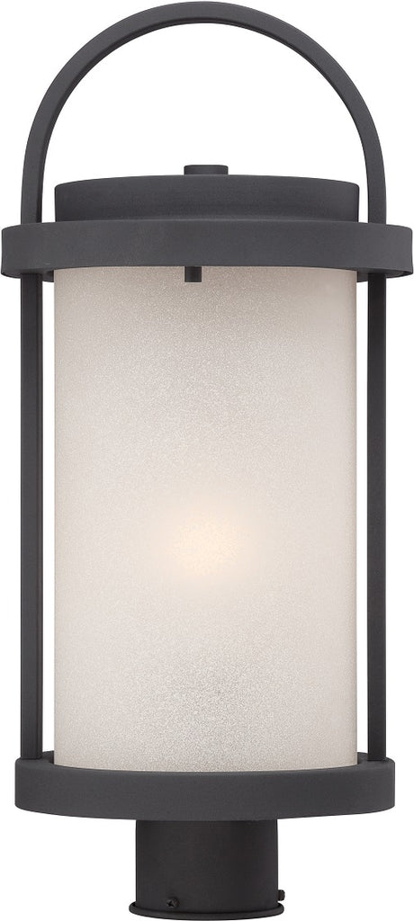 Nuvo 9 inch Willis LED Outdoor Post Black Antique White Glass