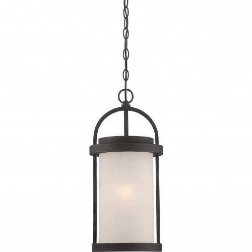 Nuvo 9 inch Willis LED Outdoor Black Light Pendant Antique White Glass