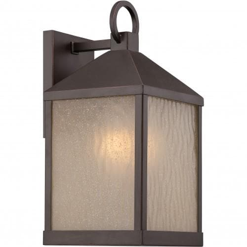 Nuvo 7 inch Haven LED Outdoor Wall Bronze Light with Sanded Tea Stain Glass