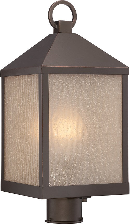 Nuvo 8.5 inch Haven LED Outdoor Post Bronze Light Pendant Sanded Tea Stain Glass