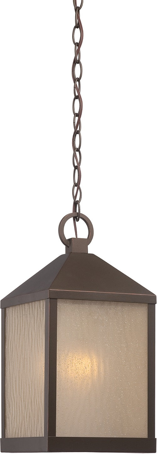 Nuvo 8.5 inch Haven LED Outdoor Bronze Light Pendant Sanded Tea Stain Glass