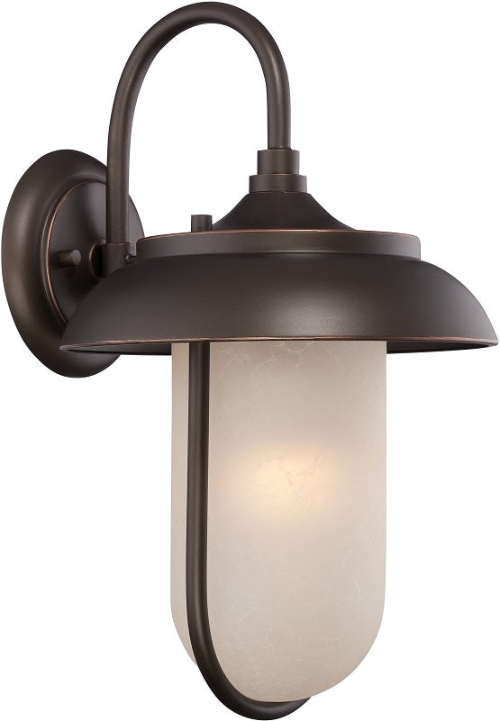 Nuvo 10 inch Tulsa LED Outdoor Wall Bronze Light Pendant Satin Amber Glass