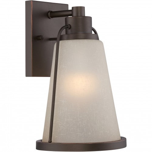 Nuvo 7.5 inch Tolland LED Outdoor Wall Bronze Light with Champagne Linen Glass