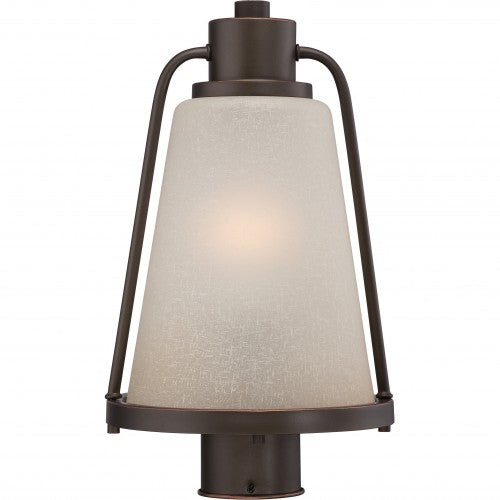 Nuvo 9 inch Tolland LED Outdoor Post Bronze Champagne Linen Glass