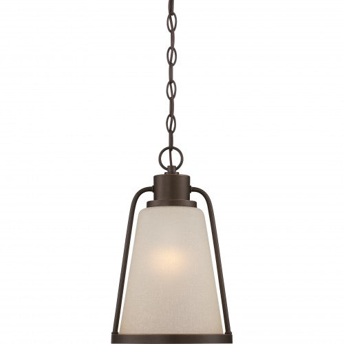 Nuvo 9 inch Tolland LED Outdoor Bronze Light Pendant Champagne Linen Glass