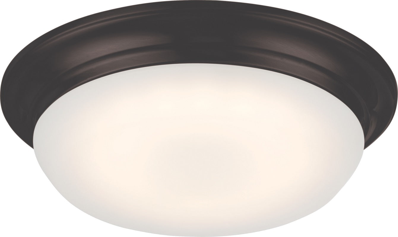 "Nuvo Libby 11"" LED Flush Fixture w/ Frosted Glass in Mahogany Bronze Finish"