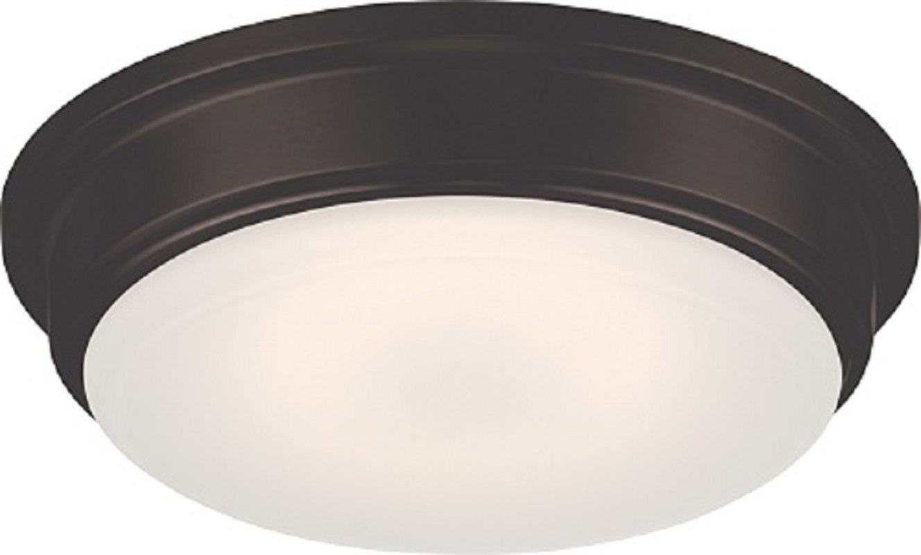 """Nuvo Haley 18w 13"""" LED Flush Fixture w/ Frosted Glass in Aged Bronze Finish"""
