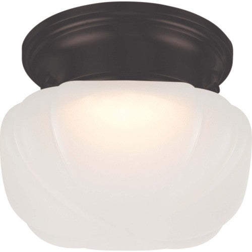 """Nuvo Bogie 12w 6.25"""" LED Flush Fixture w/Frosted Glass in Mahogany Bronze Finish"""