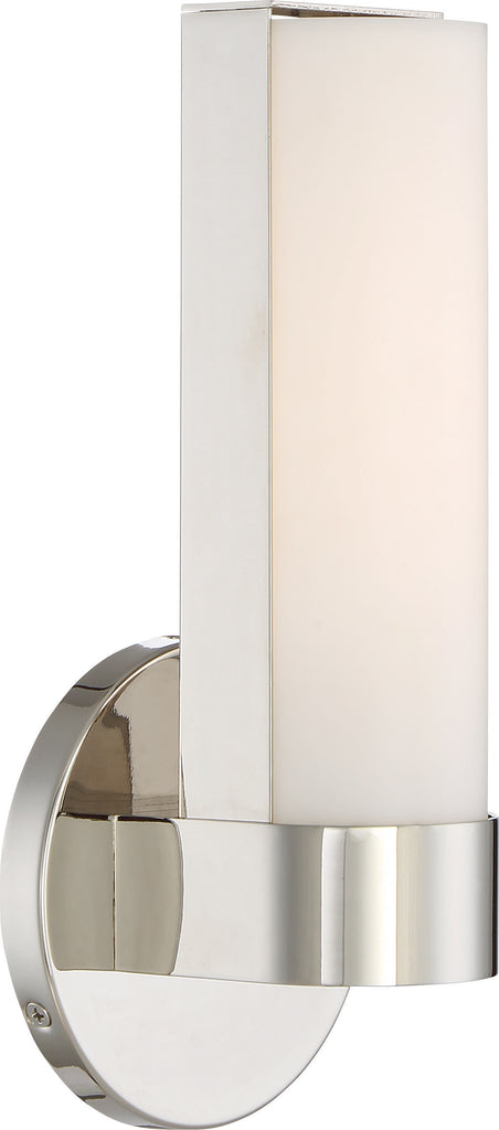 "Nuvo Bond 1-Light 9-1/2"" LED Wall Vanity w/ Acrylic Lens in Polished Nickel"