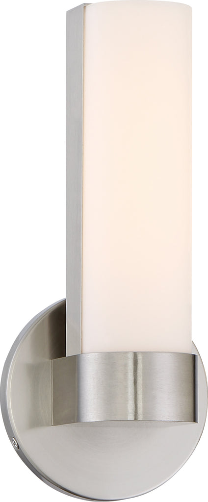 "Nuvo Bond 1-Light 9-1/2"" LED Vanity w/ White Acrylic Lens in Brushed Nickel"