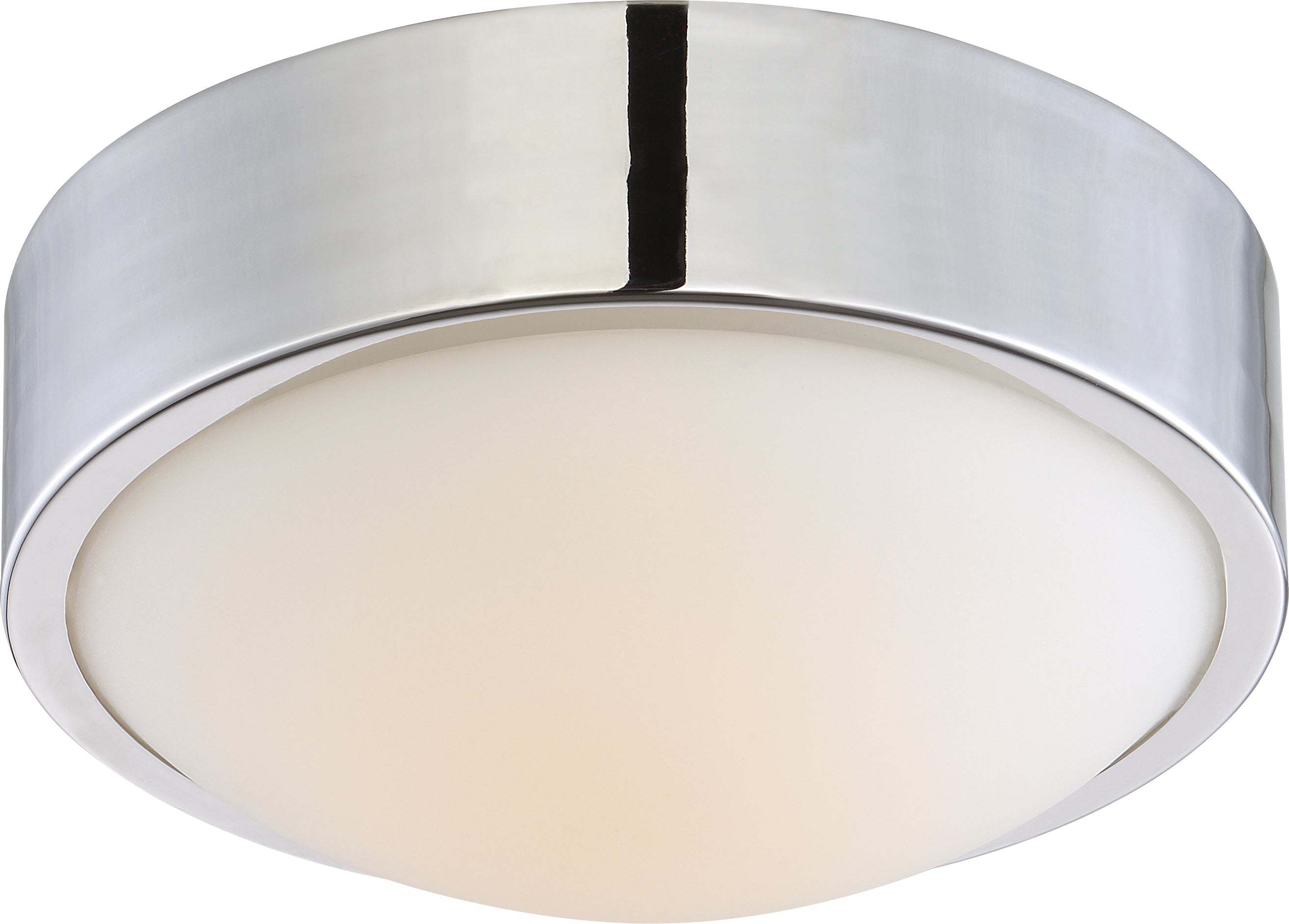 "Nuvo Perk 9"" LED Flush Mount Fixture w/ White Glass in Polished Nickel Finish"