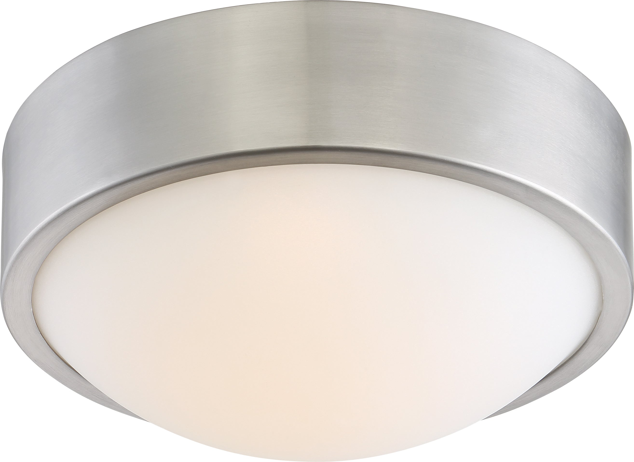"Nuvo Perk 9"" LED Flush Mount Fixture w/ White Glass in Brushed Nickel Finish"