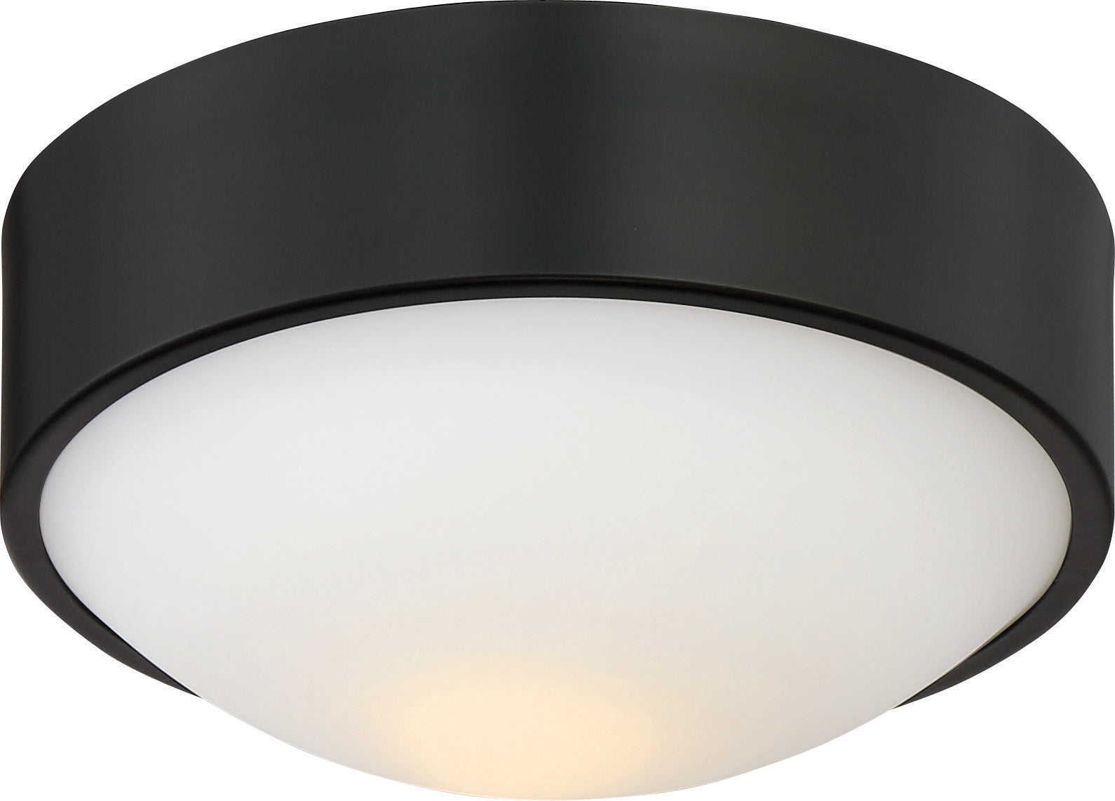 """Nuvo Perk 9"""" LED Flush Mount Fixture w/ White Glass in Aged Bronze Finish"""