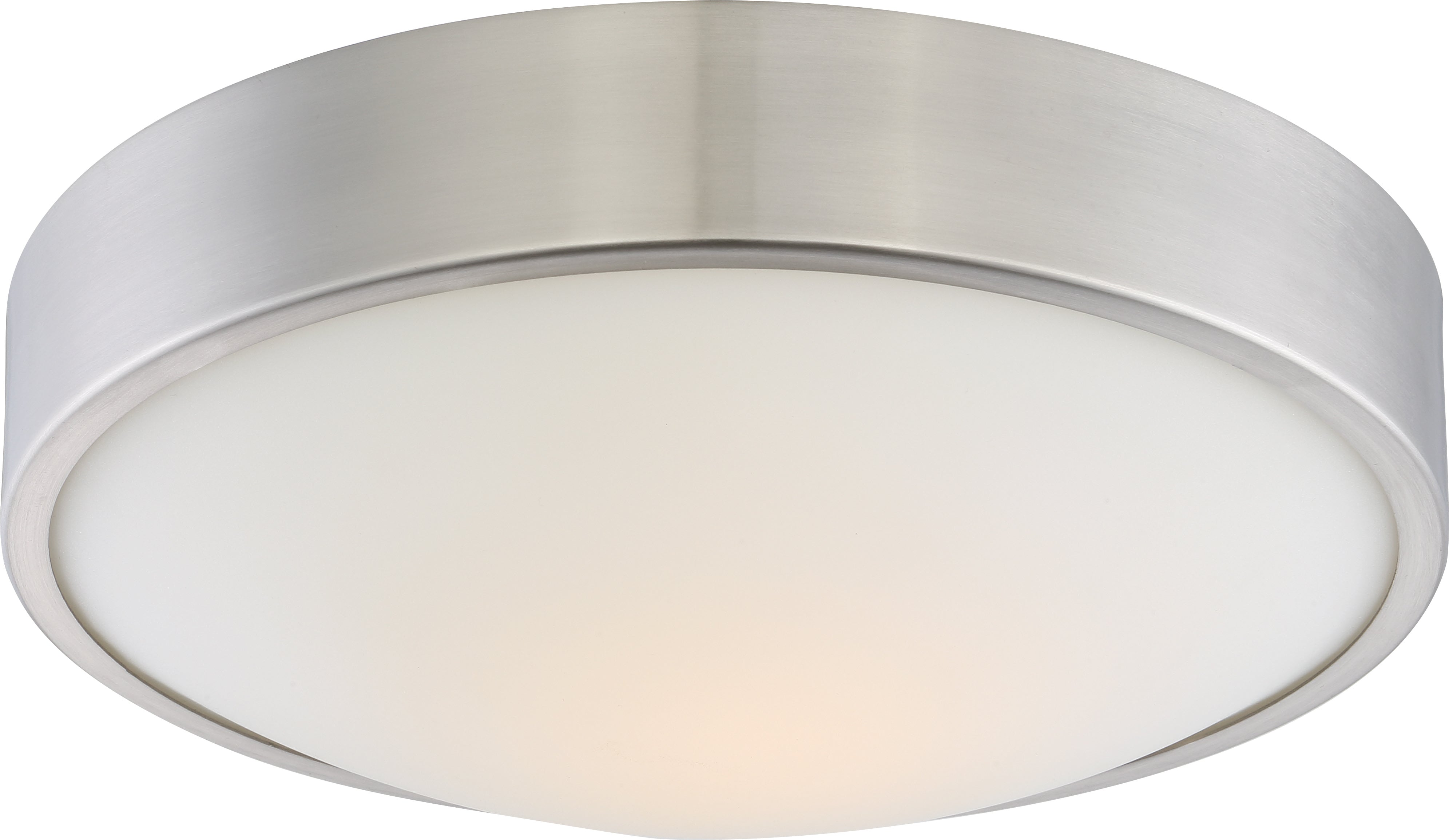 """Nuvo Perk 13"""" LED Flush Mount Fixture w/ White Glass in Brushed Nickel Finish"""