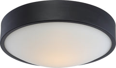 "Nuvo Perk 13"" LED Flush Mount Fixture w/ White Glass in Aged Bronze Finish"