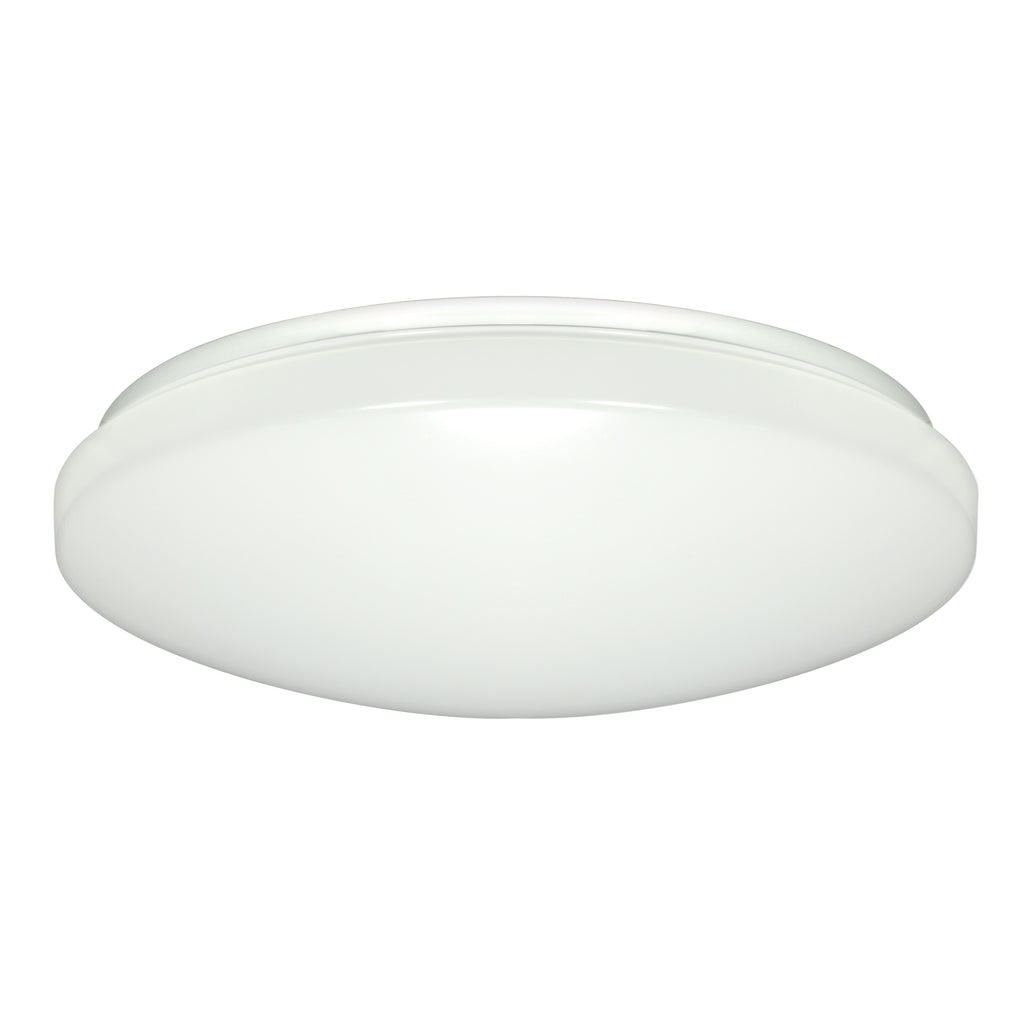 "14"" Flush Mounted LED Light Fixture- White Finish With Occupancy Sensor 120-277V"