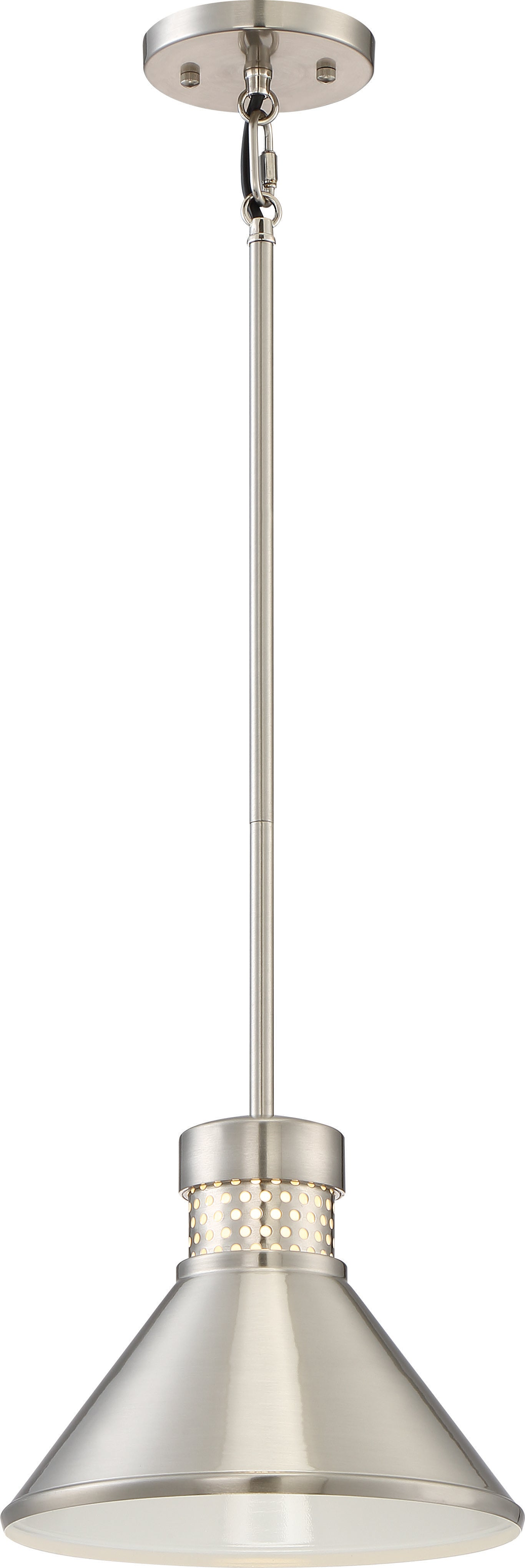 """Nuvo Doral 1-Light 12w 8"""" Small LED Pendant w/ White Accent in Brushed Nickel"""